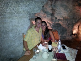 Wine tasting in a cave
